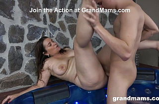 Twink Cums on Granny039;s Boobs in a Hot Tub