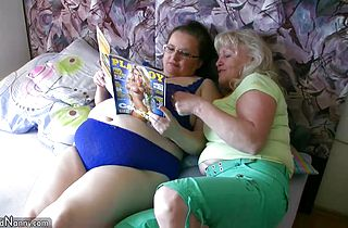 Chubby granny and old granny masturbating on the bed hardcore