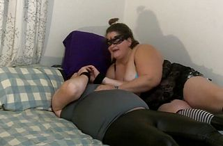 Chubby Sissy in leather pants cuffed and jerked off by bbw mistress, eats cum