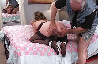 Hawt, thick dark brown is fastened and drilled on the daybed by an mature lad